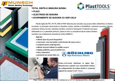 Placi si electrod de sudura din material plastic PP / PE / PVC